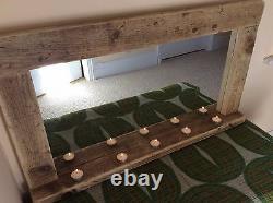 Wooden / wood mirror with shelf, handmade, reclaimed wood, pine, rustic, bespoke