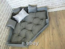 XL Personalised Grey Rustic Corner Wooden Dog Bed With Grey Cushions