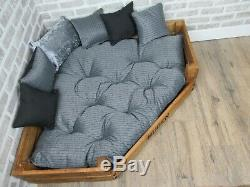 XL Personalised Rustic Corner Wooden Dog Bed With Grey Cushions